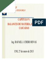 Balances de Materia e Tapas y Cascada s