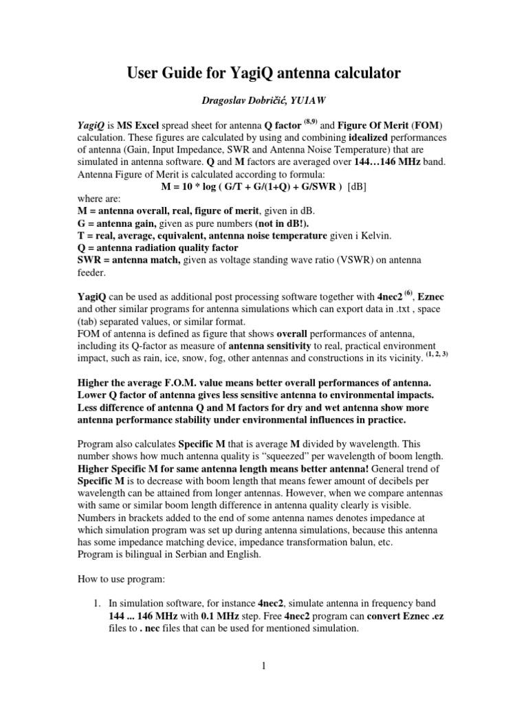 User Guide for Yagiq | Antenna (Radio) | Decibel
