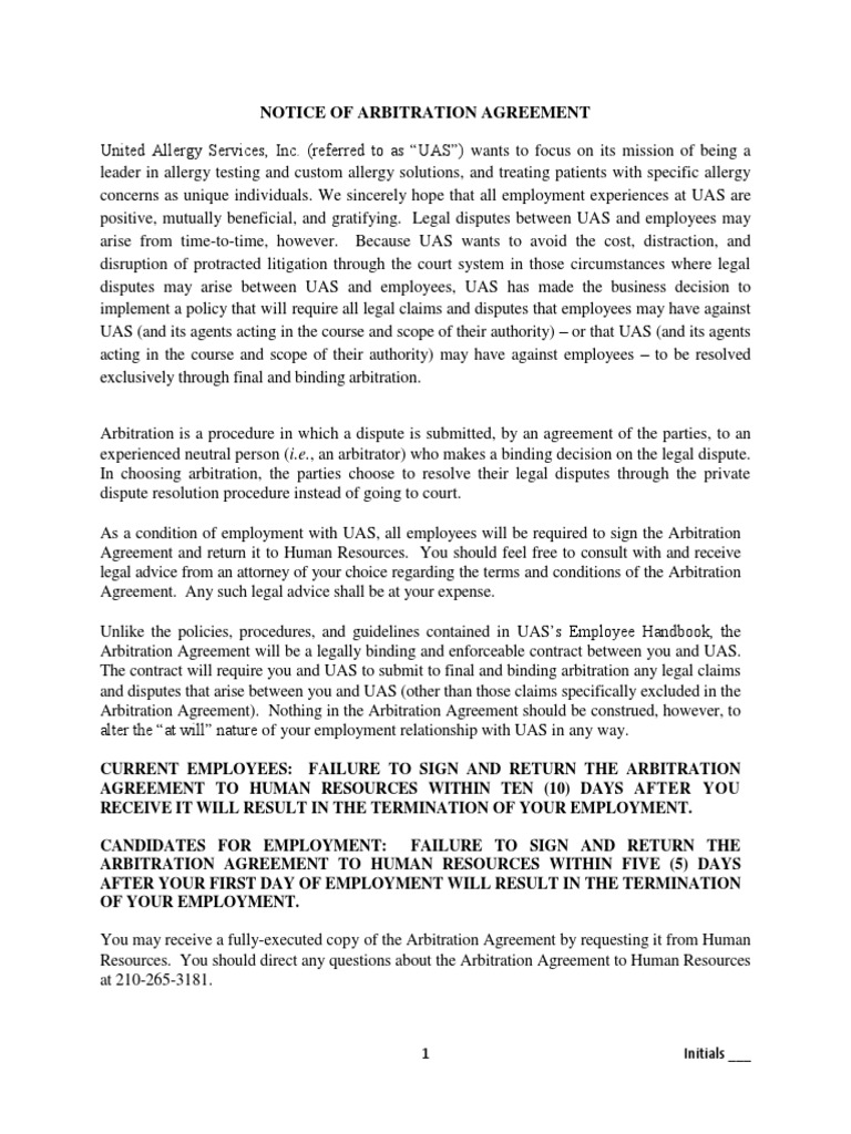 2014 Uas Arbitration Agreement Arbitration Civil Law Legal System