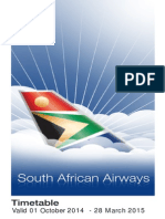 TimetableSouth African Airways Timetable