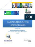 POLÍTICA ENERGÉTICA E AS FONTES