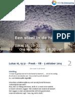 Lukas 16, 19-31 – Preek – VB – 5 Oktober 2014 -Web