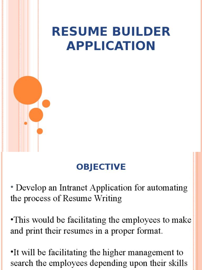Resume Bulider Ppt   Feasibility Study   User (Computing)