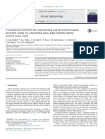 A Comparison Between the Experimental and Theoretical Impact Pressures Acting on a Horizontal Quasi-rigid Cylinder During Vertical Water Entry - Nuffel