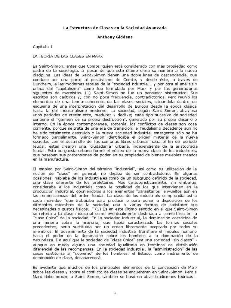 Giddens La Estructura De Clases En Las Sociedades Avanzadas