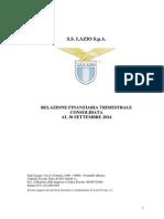 SS Lazio, Situazione trimestrale al 30.09.2014