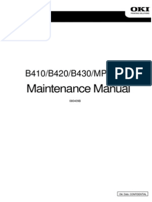 B410/B420/B430/MPS420b: Maintenance