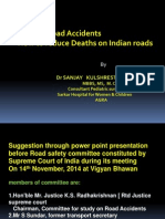 Road safety suggestion to Supreme Court Committee to control fatalities in India
