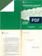 Plano Estadual de Educacao 1985 1988