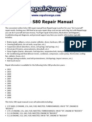 Volvo S80 Repair Manual 1999 2011 Engines Automotive Industry
