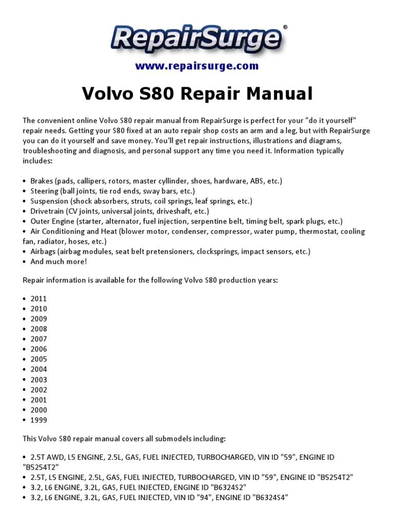 Volvo S80 Repair Manual 1999 2011 Engine Diagram