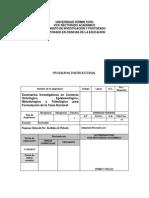 Programa Escenarios Investigativos, Uft.