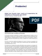 Habla Luis Vicente Leon Cual Es La Expectativa de Inflacion en Venezuela Para 2015