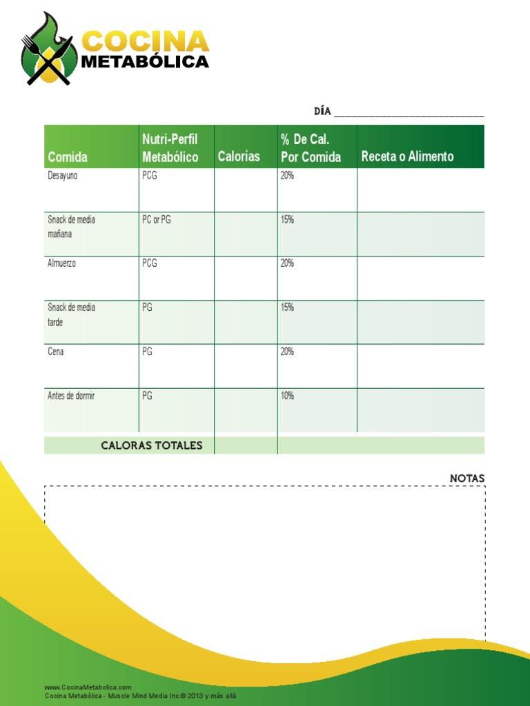 Plantilla Para Registro Diario de Comidas