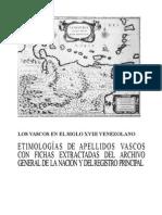 Los Vascos en El Siglo Xviii Venezolano