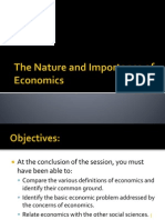 (B) the Nature and Importance of Economics