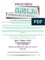 kublai 6 next master dine in menu