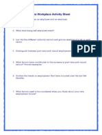 1. the Workplace Activity Review Sheet