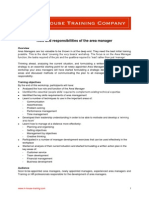 Role and Responsibilities of the Area Manager