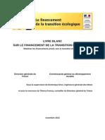 Livre Blanc Sur Le Financement de La Transition Ecologique