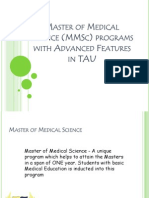 Master of Medical Science (MMSc) programs with Advanced Features in TAU