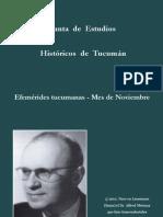 Efémerides Tucumanas - Mes de Noviembre- Junta de Estudios Historicos de Tucumán