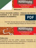 Minicurso. Ramon. Direitos Humanos. Desafios - Pesquisa e Prática
