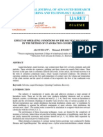 Effect of Operating Conditions on the Solvent Recovery by the Method of Evapo