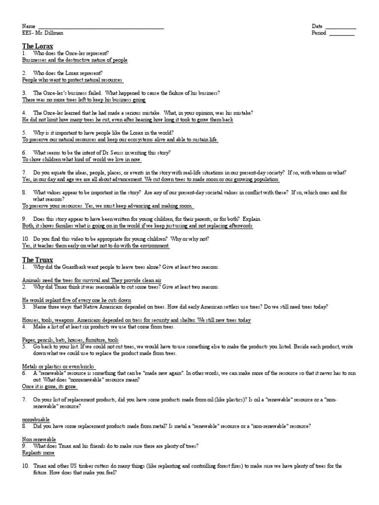 Worksheet The Lorax Worksheet Answers Carlos Lomas Worksheet For