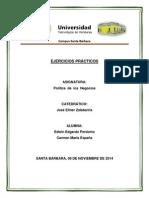 Ejercicios Prácticos [Política de Negocios (Edwin Perdomo - Carmen España)]