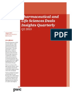 Pwc Pharma Life Sciences Deals Insights q2 2013