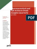 Pwc Pharma Life Sciences Deals Insights q3 2013