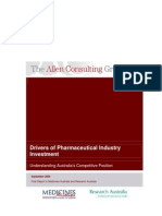Drivers of Pharmaceutical Industry Investment July 20061