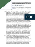 New Academic Papers on Vietnam 2010