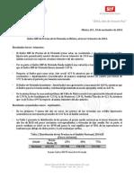 10-11-14 Índice SHF de Precios de la Vivienda en México, al tercer trimestre de 2014.
