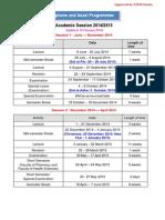 Academic Sessions 2014-2015