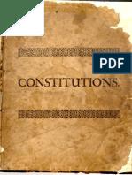 ANDERSON James - Constitutions de 1723 (Anglais)