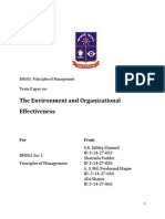 The Environment and Organizational Effectiveness