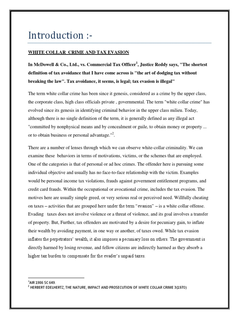 tax evasion as white collar crime draft 9 sem | tax evasion | tax