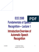 Lectures 1 Rabiner speech processing