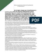 Charte d'Investissement