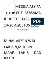 Cuti Idul Fitri Klinik Medika Asyifa