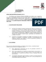 Edital Para Assistência Estudantil 2014.1
