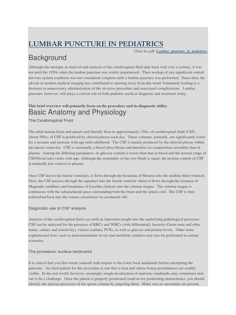 LUMBAR PUNCTURE IN PEDIATRICS.docx | Cerebrospinal Fluid | Neurology