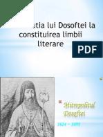 Contributia Lui Dosoftei La Constituirea Limbii Literare