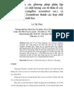 Nghiên cứu các phương pháp phân lập Zerumbone có chất lượng cao từ thân rễ cây gừng gió (zingiber zerumbert sm.) và chuyển hóa Zerumbone thành các hợp chất có hoạt tính sinh học
