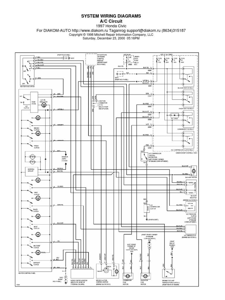 honda civic 97 wiring diagram rh scribd com 97 honda wiring diagram 1997 honda crv wiring diagram