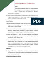 Definición, carácter y clasificación de las obligaciones.