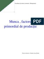 Munca , Factorul Primordial de Productie