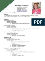resume - quintina frandsen - november 2014